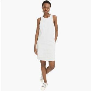 J. Crew White Denim Shift Mini Dress W/ Pockets